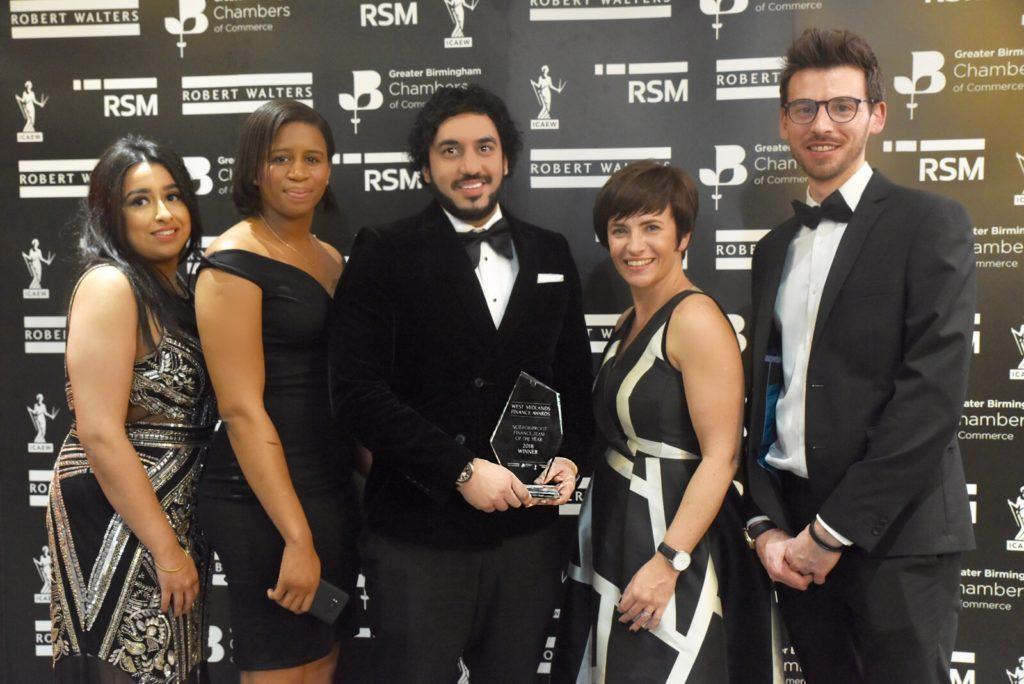 Millennium Point Finance team after winning at the West Midlands Finance Awards 2018